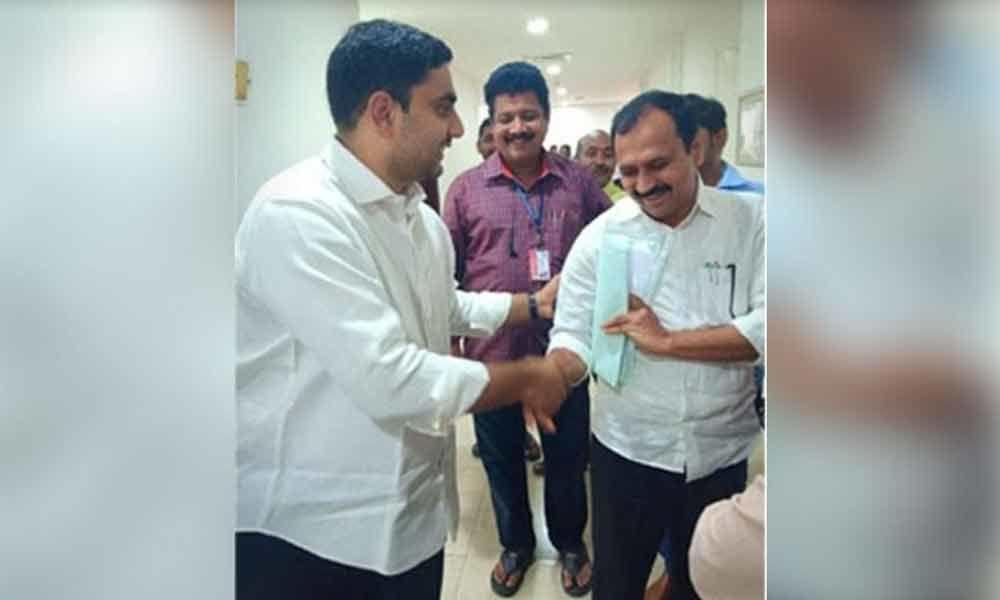 Nara Lokesh and Alla RK face to face at Assembly lobby