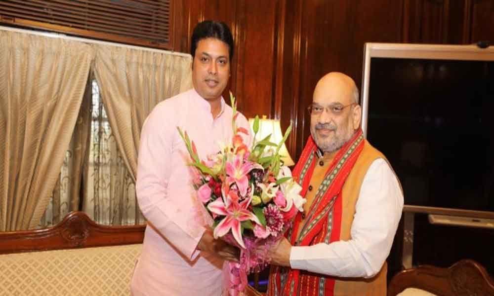 Tripura CM Biplab Kumar meets Amit Shah, seeks special package for tribal council