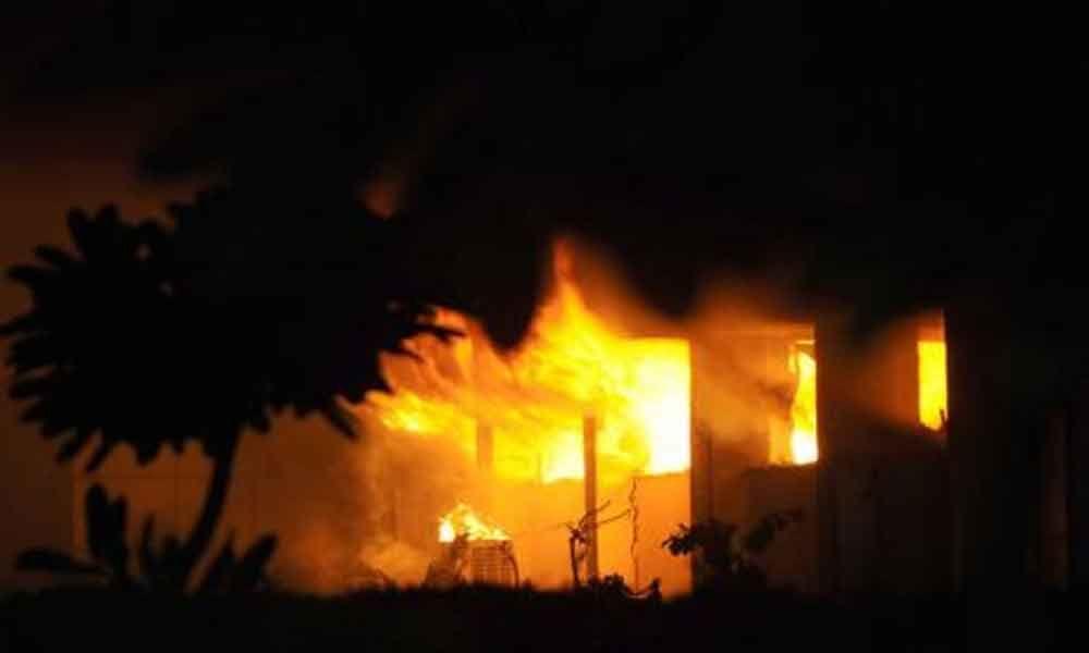 Massive fire accident in Kakinada at midnight