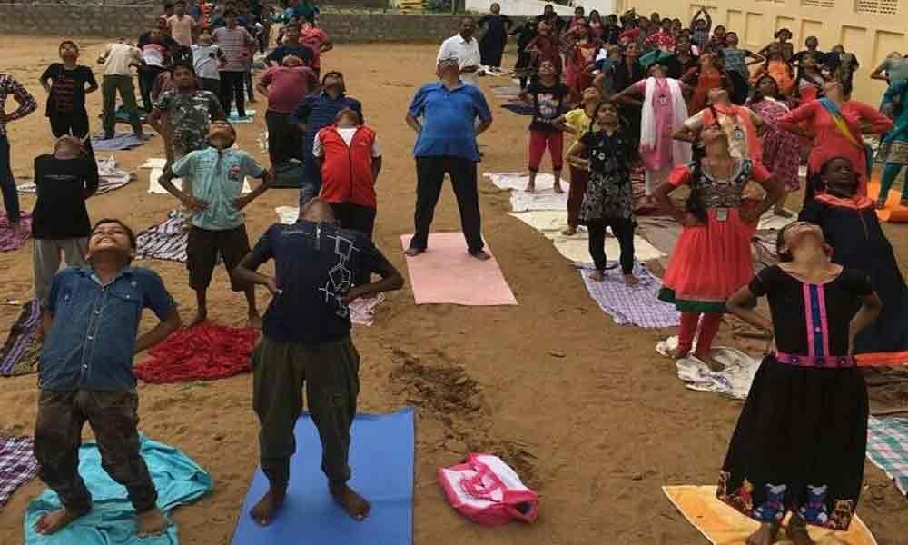 Yoga Day rehearsals organised in Srikakulam