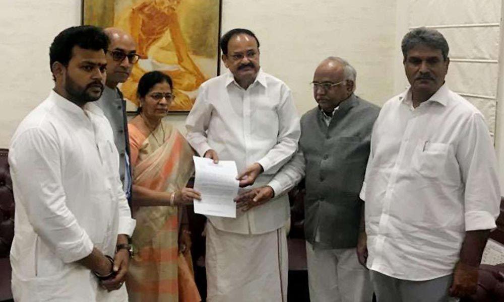 Five TDP MPs met Venkaiah Naidu to challenge the defection of four ex-colleagues to BJP
