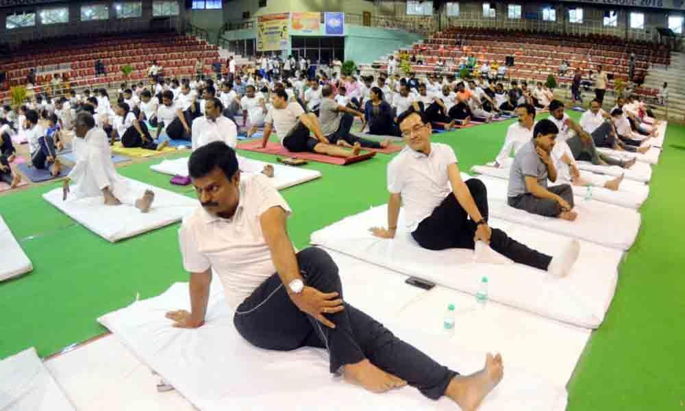 Fervour marks Yoga Day celebrations in Visakhapatnam