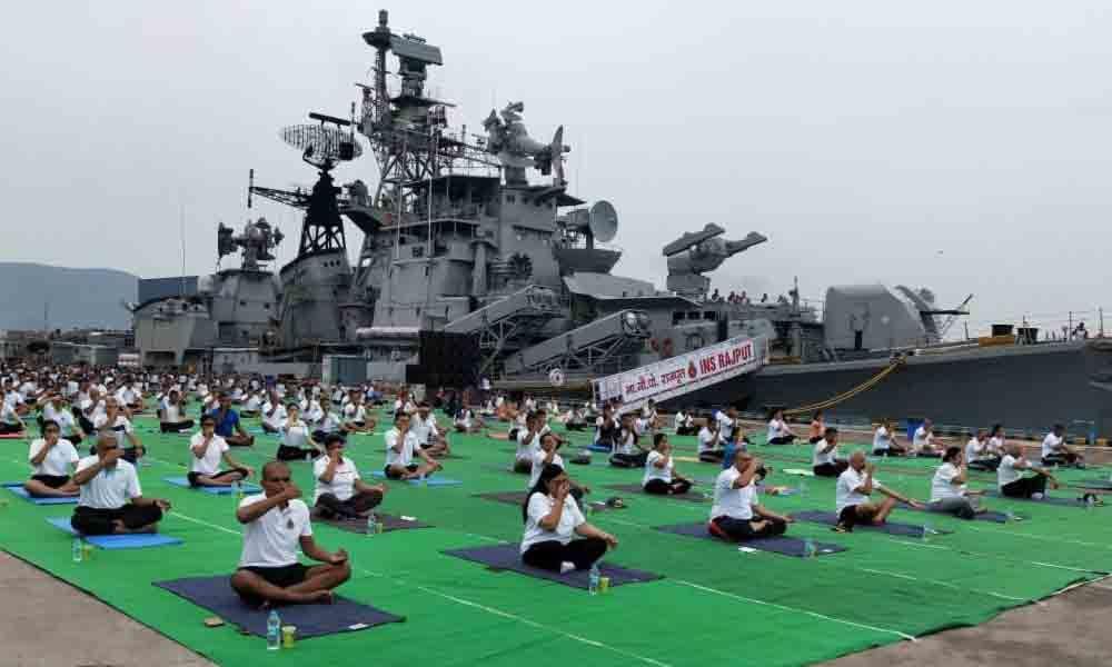 20K Navy personnel join Yoga Day celebrations in Visakhapatnam