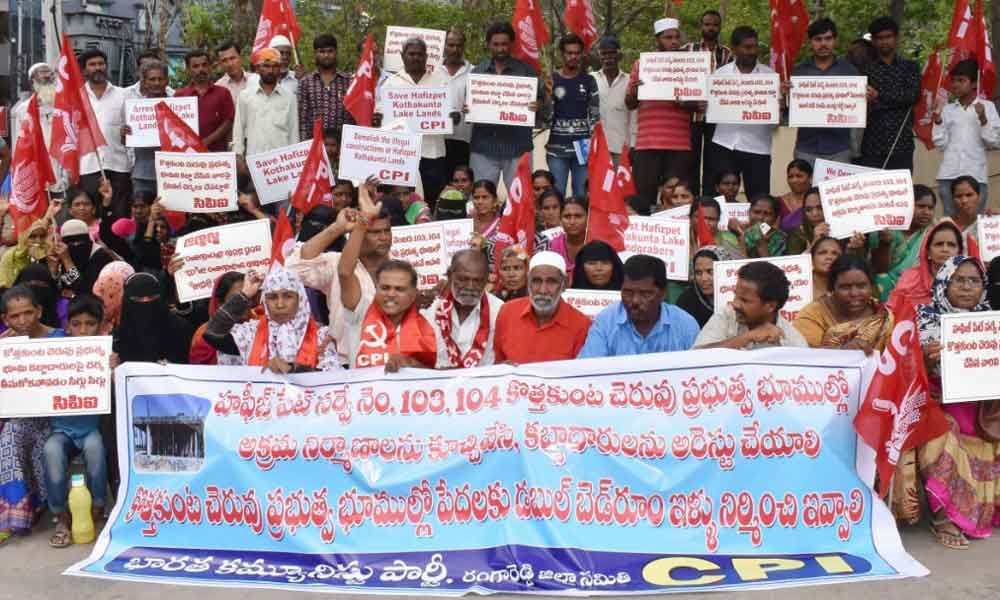 CPI protests against illegal constructions