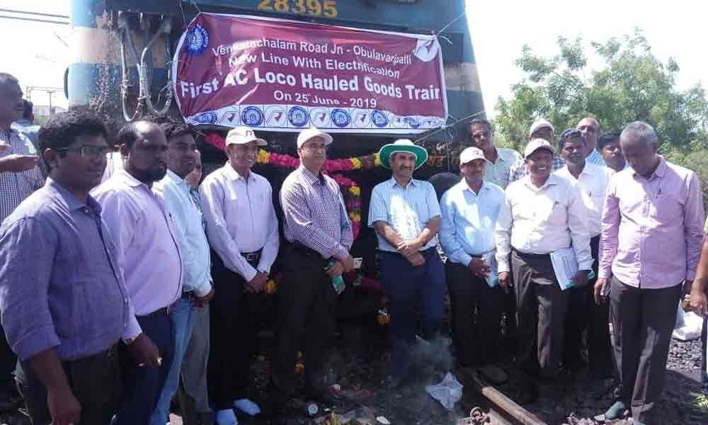 Electric goods train runs successfully on new line