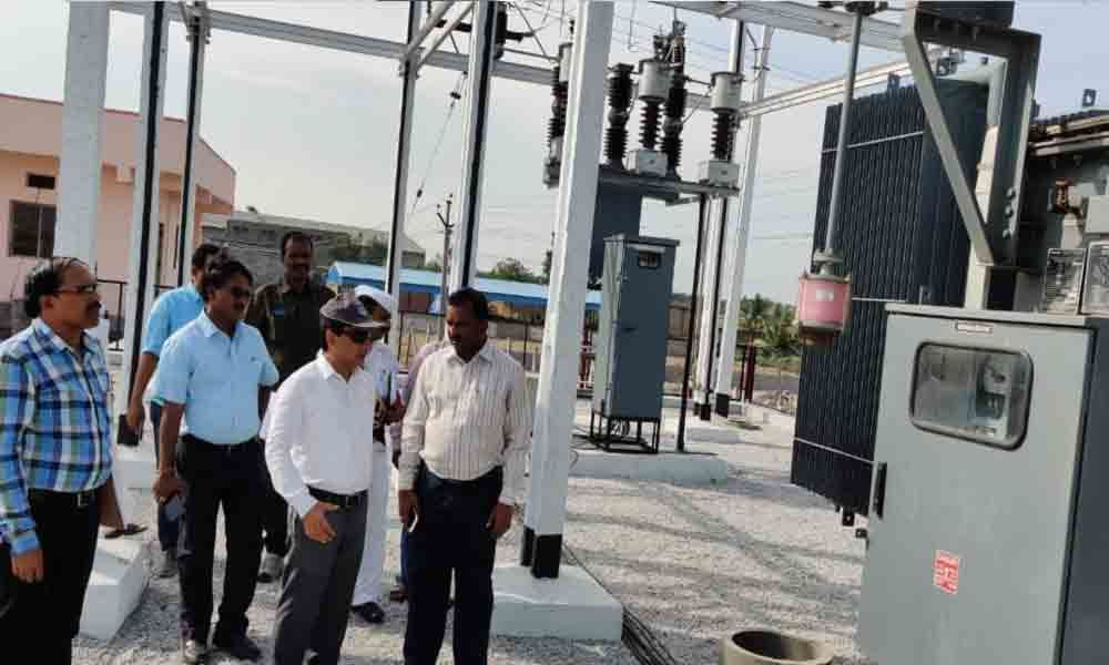 Collector Gaurav Uppal inspects electrical lines work in Mirylaguda