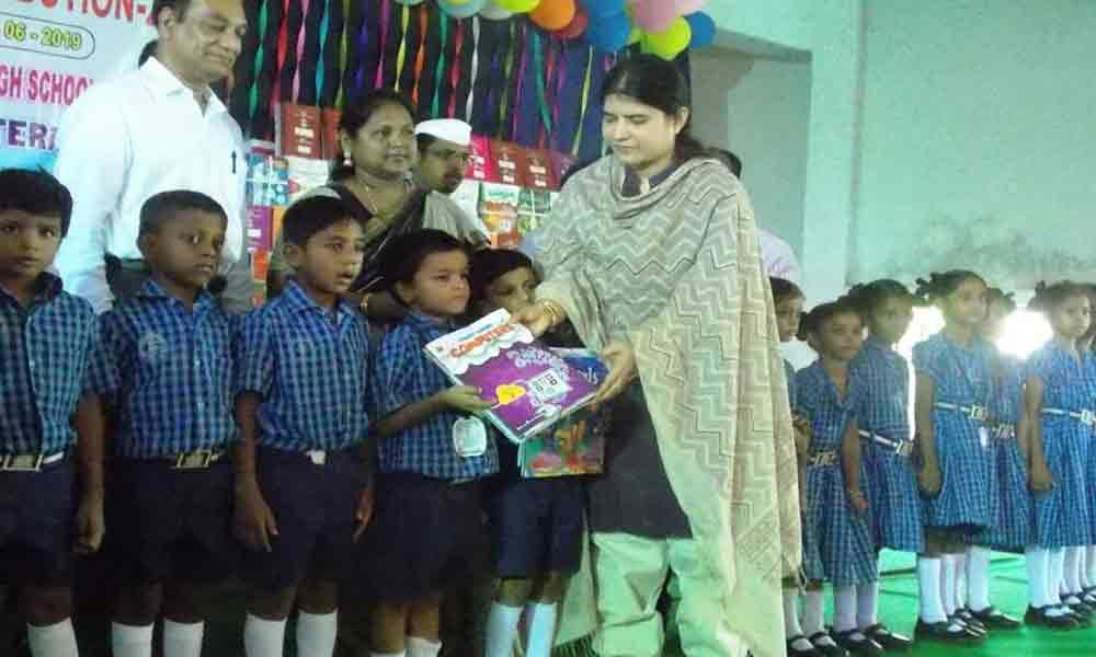 RDO G Rajakumari distributes textbooks