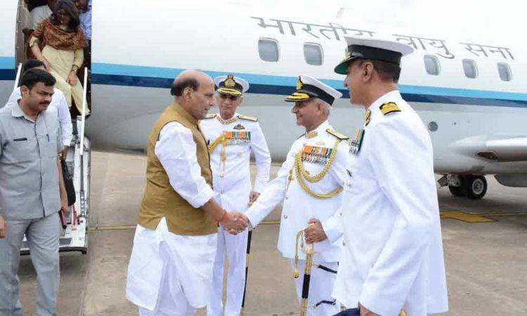 Defence Minister Rajnath Singh reaches Visakhapatnam