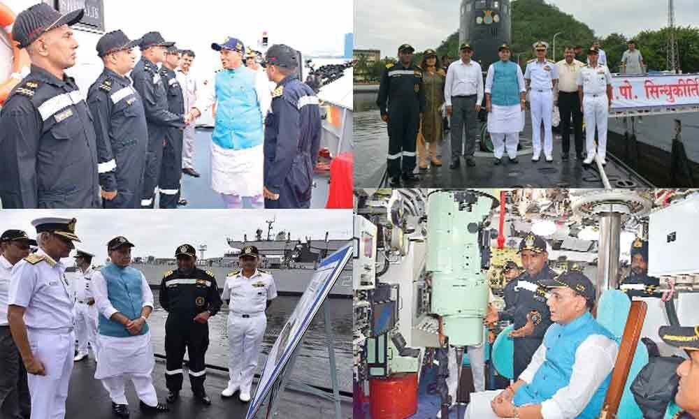 Rajnath visits stealth frigate, submarine