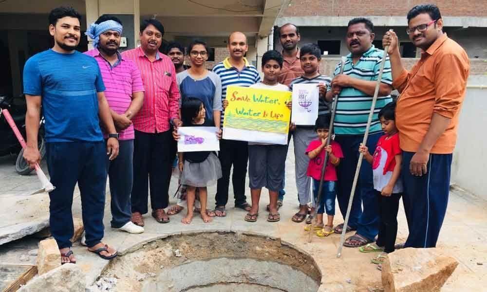 Rainwater harvesting pit dug up