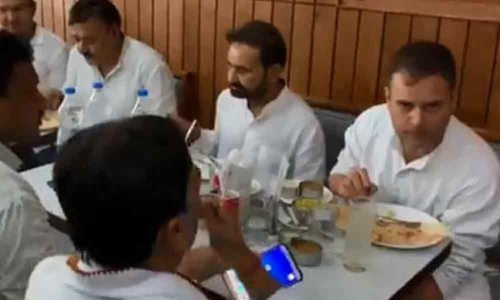 Watch! Rahul Gandhi savours dosa in Patna after getting bail in defamation case
