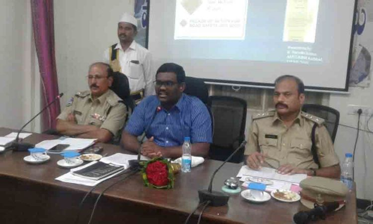 Follow road safety rules to avoid mishaps: Collector  Rajiv Gandhi Hanumanthu