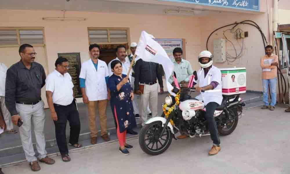 Collector Collector Bharathi Hollikeri flaggs off 108 bike ambulance in Mancherial