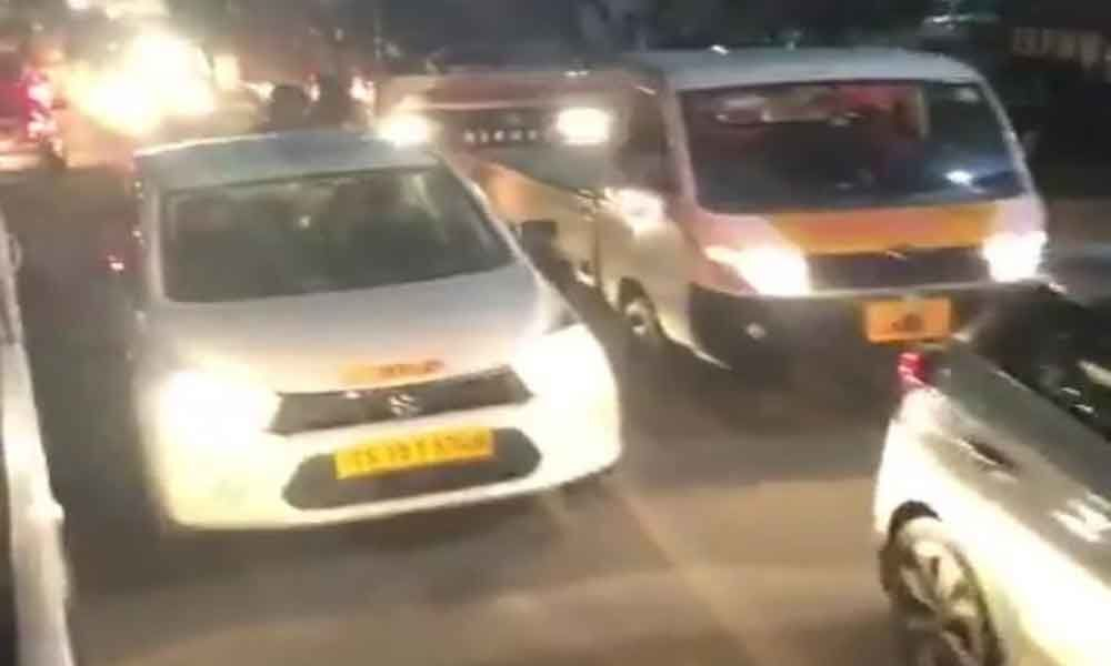 Traffic snarls become rampant on Dhulapally Kompally Road