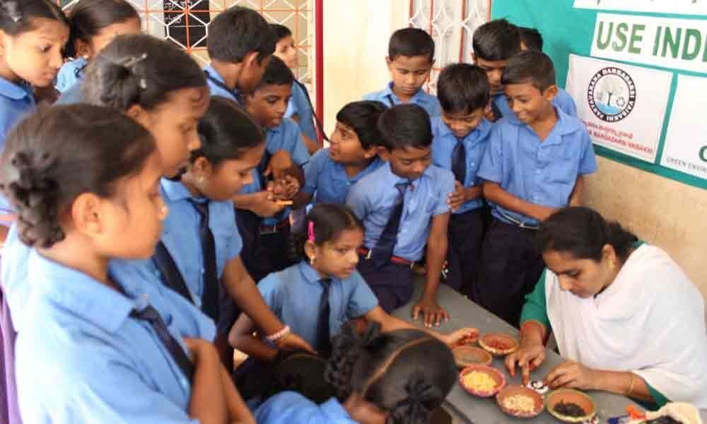 Stress on use of eco-friendly rakhis at GVMC Primary School