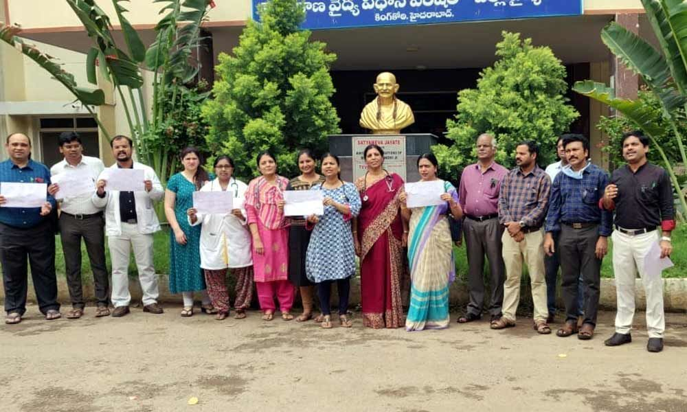King Koti hospital doctors hold protest