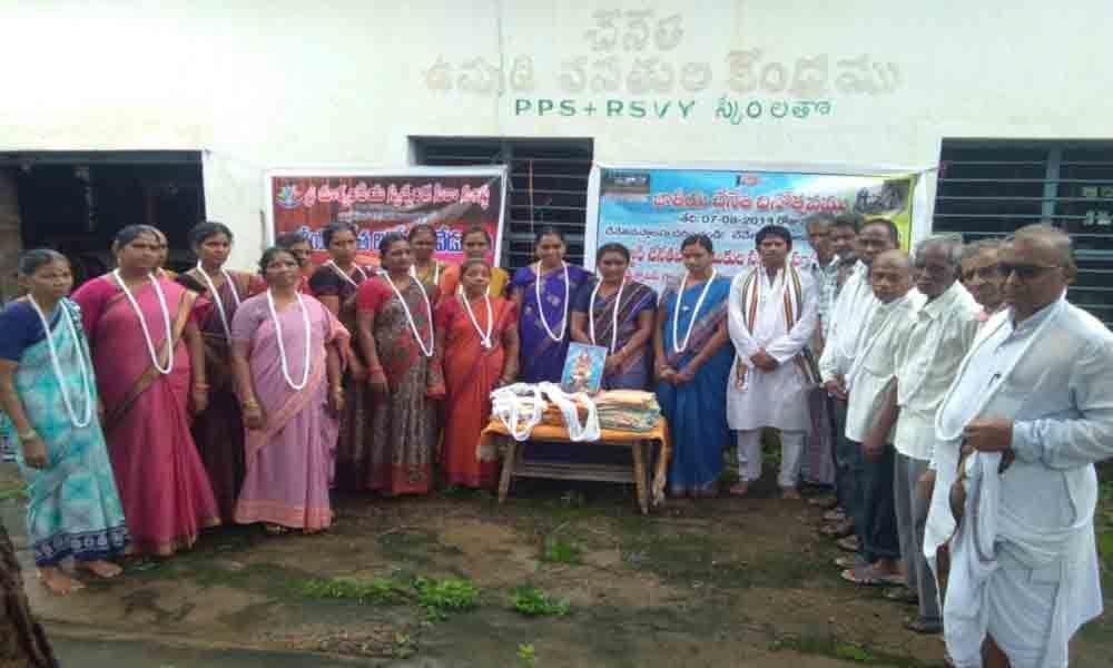 Padmashalis celebrate National Handloom Day in Kaghaznagar