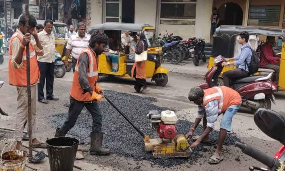 Road repair works at a brisk pace