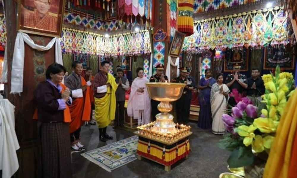 Bhutanese king lights thousand lamps in memory of Sushma Swaraj
