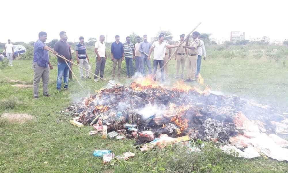 Seized tobacco, gutka worth 75L set afire