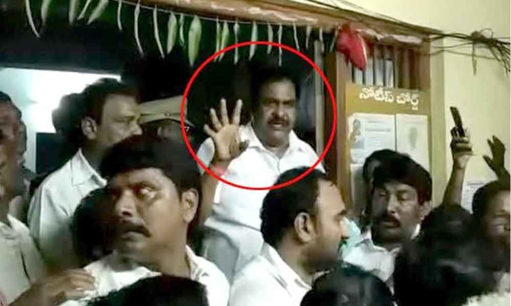 Janasena MLA Rapaka surrenders in police station
