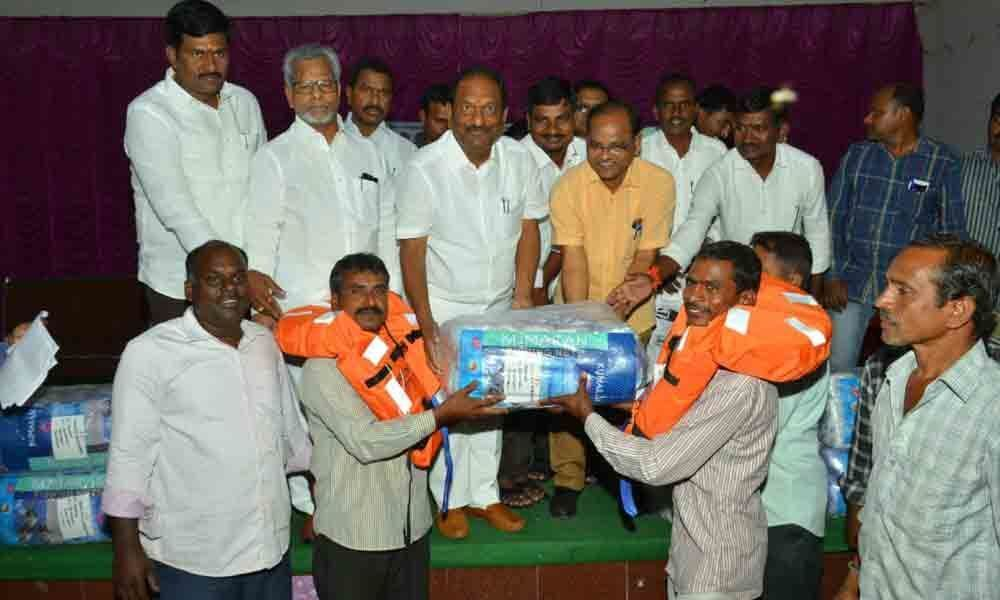 Jagtial: Fishing nets, jackets distributed