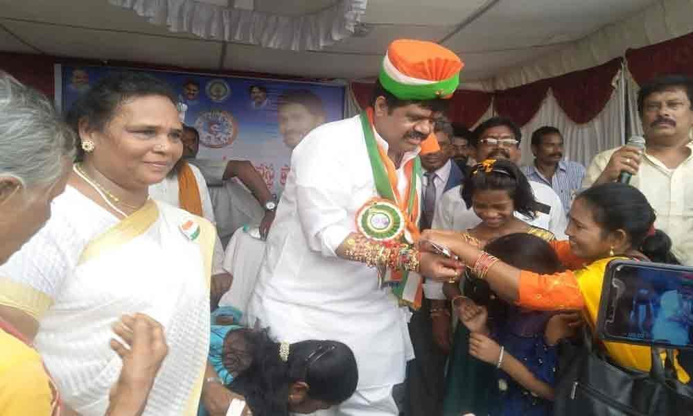 Women tie Rakhies to Muttamsetti Srinivasa Rao