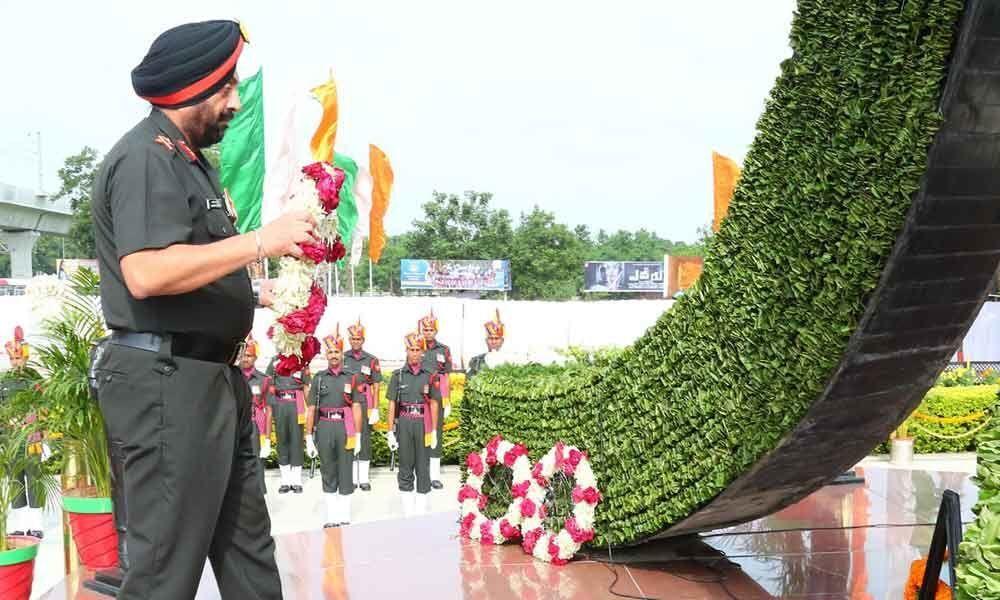 Officers pay homage to martyrs, lay wreath at Veerula Sainik Smarak