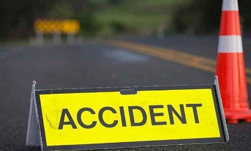 A car hit the divider at ORR in Narsingi PS limits