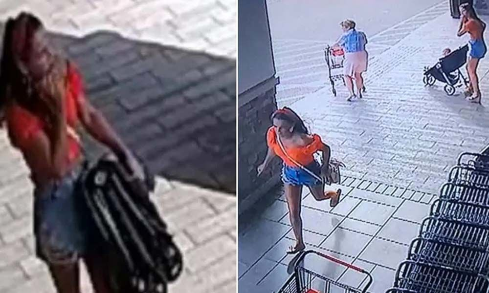 Watch: Woman steals stroller, forgets her baby in the store