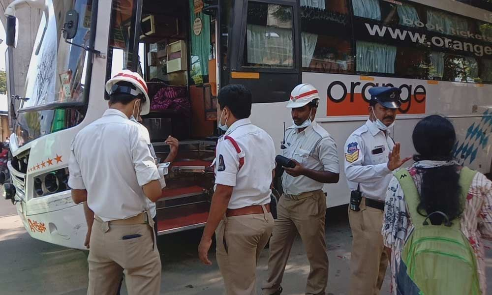 Challans issued to private buses for sound pollution