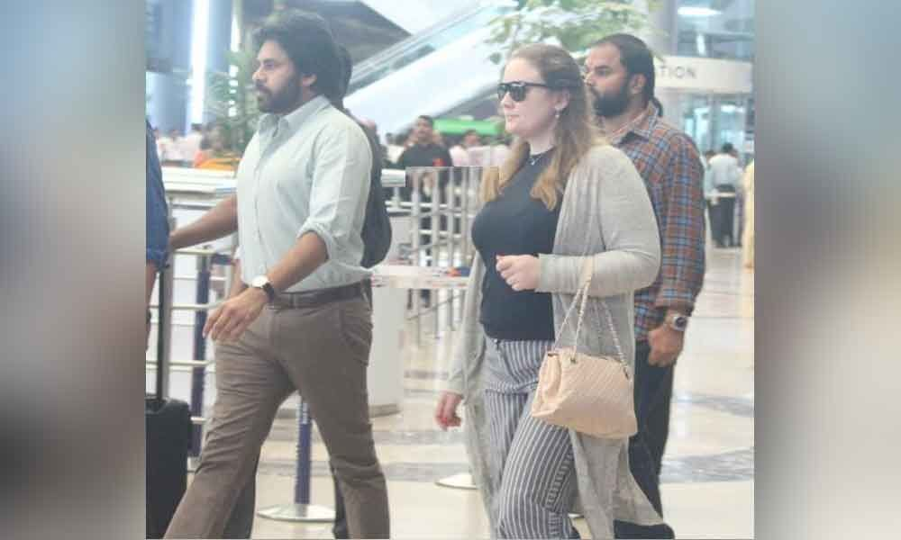 Pawan Kalyan spotted with wife  Anna Lezhneva at the airport where is Jana Sena chief Traveling?