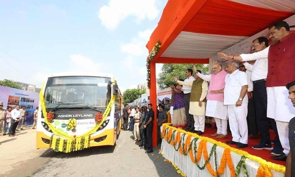 Amit Shah flags off first fleet of eco-friendly electric buses in Ahmedabad