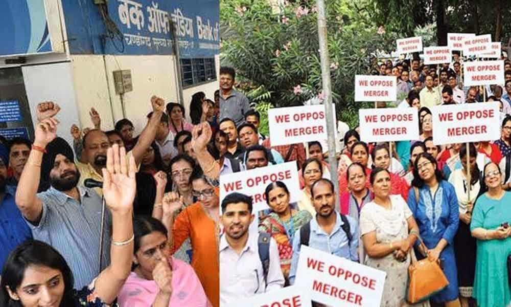 Bank staff protest PSB merger move