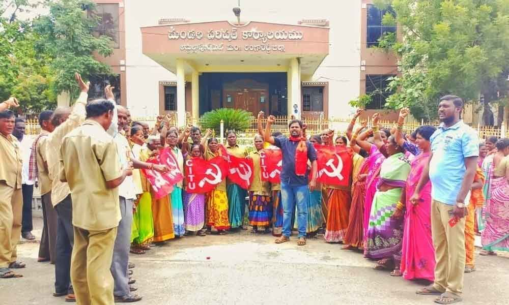 Panchayat workers demand hike in pay