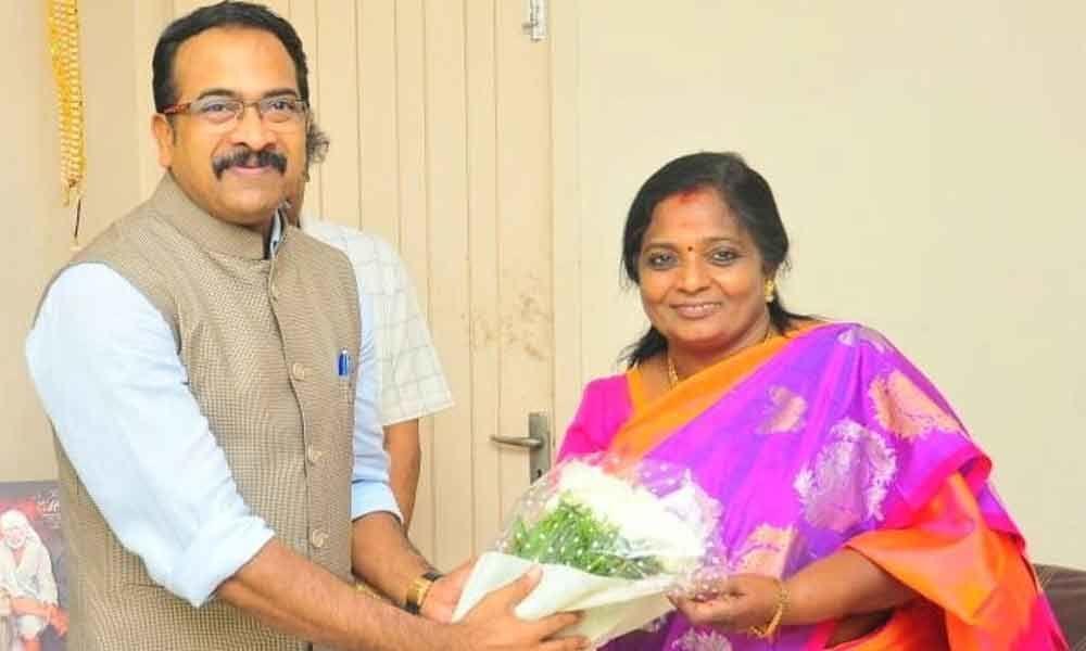 Krishna Saagar Rao congratulates Tamilisai Soundararajan