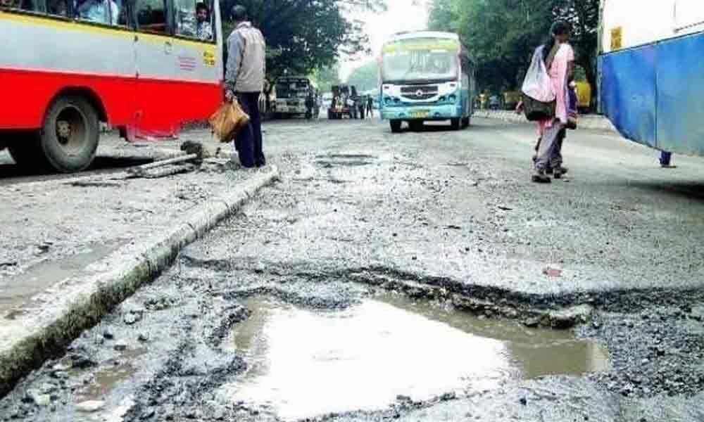 Deplorable roads in Hyderabad