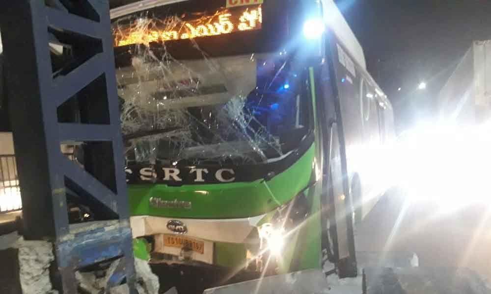 RGIA, Shamshabad Airport route RTC A/C bus hits divider at Masabtank