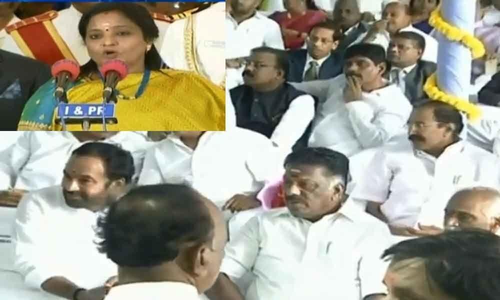 Tamil Nadu deputy CM attends Telangana Governor swearing in
