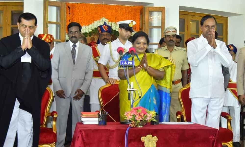 Tamilisai Soundararajan takes oath as first woman governor of Telangana