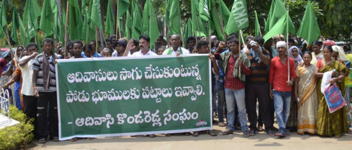 Podu farmers demand pattas