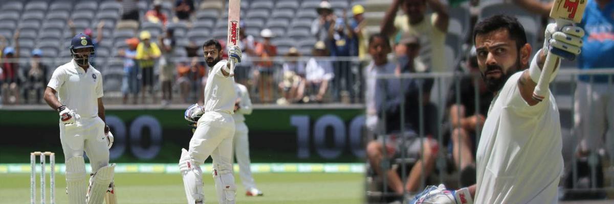 AUS vs IND: Virat Kohli notches up 25th Test century, 6th in Australia, 1st in Perth