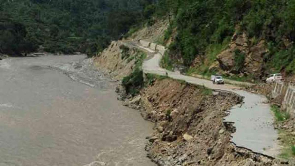 Agriculture fields destroyed by heavy rains in Uttarakhand