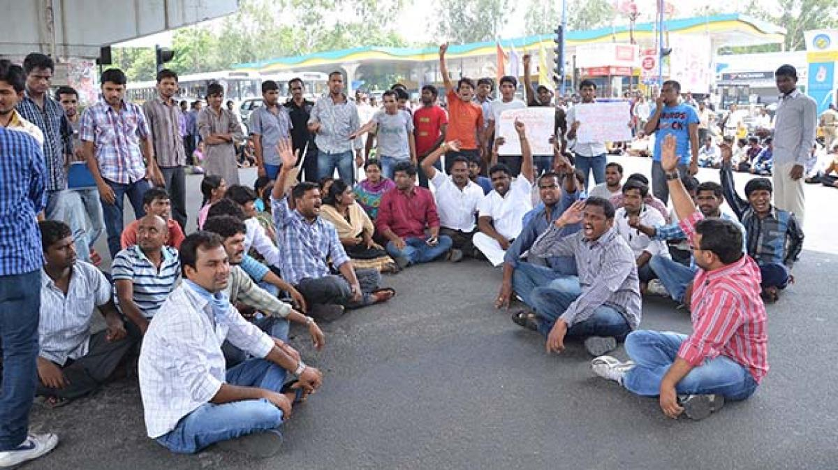 AP NGOs stage protest over regularization of contract employees