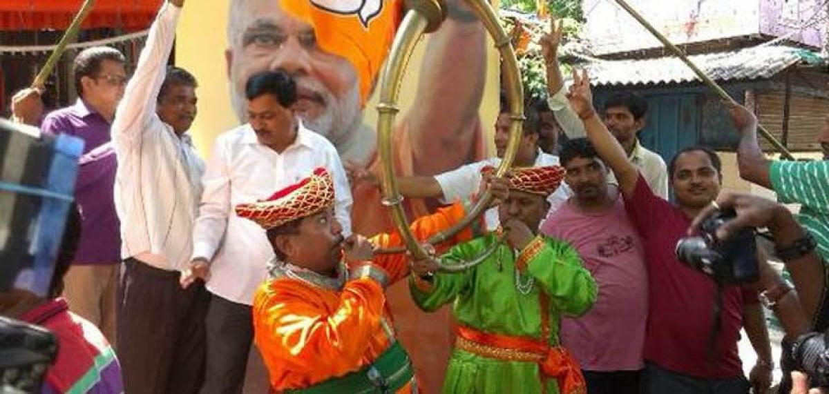 BJP workers celebrate as trends show party leading