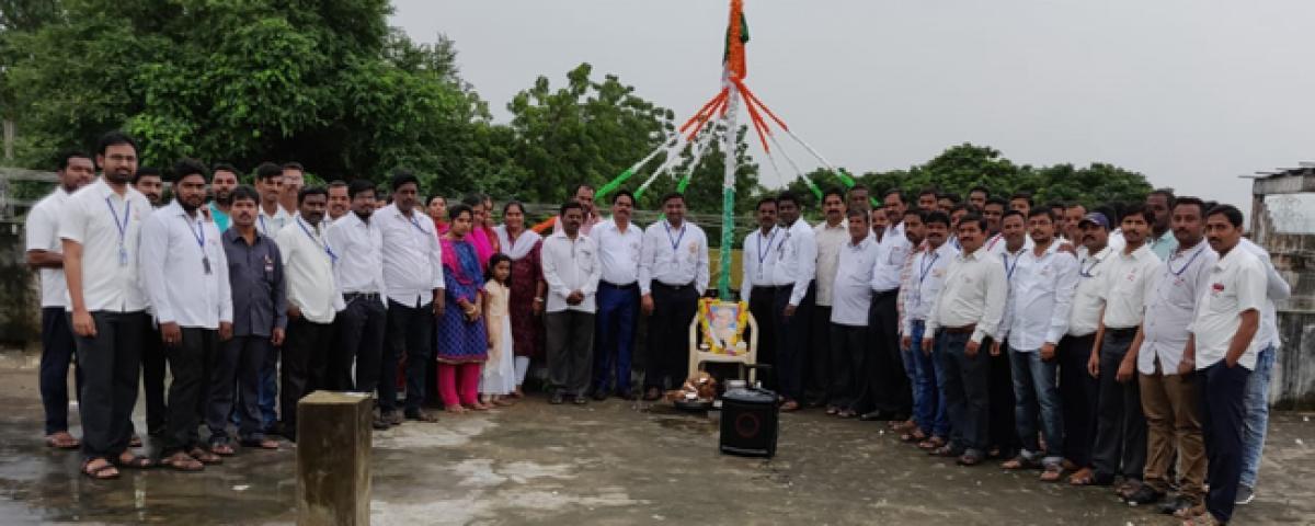 Kapil Chits staff salute national flag in Kothagudem
