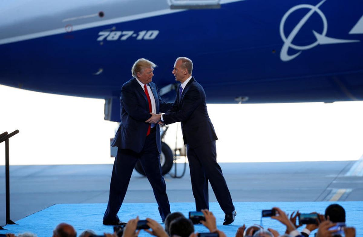 Trump pledges to protect U.S. jobs during visit to Boeing plant