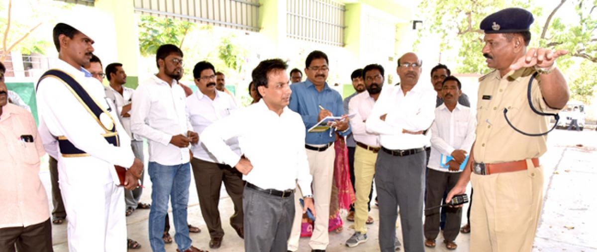 Collector visits venue for farmers panel meet