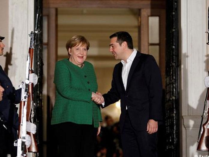 Greece, Germany put tension behind them in Merkel visit