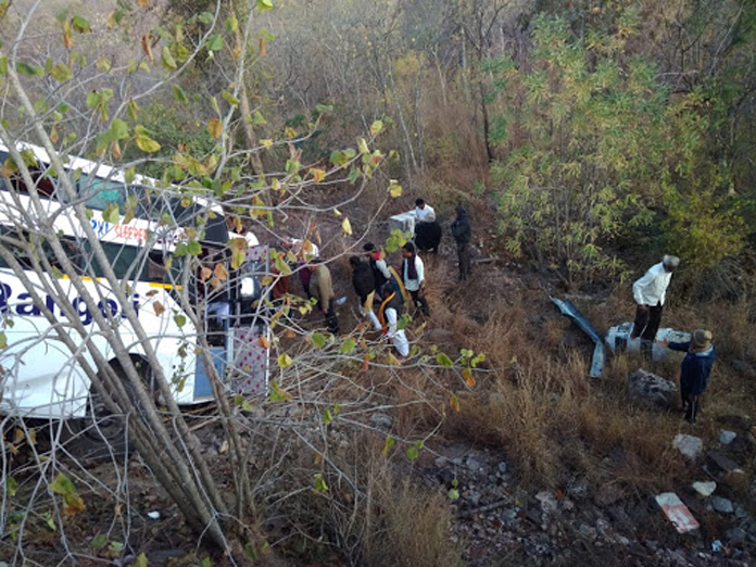 Travels Bus from Maharashtra lunged into Srisailam valley, all safe